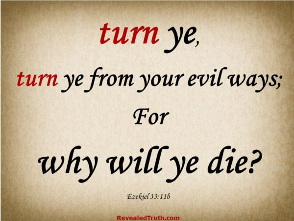Ezekiel 33.11b If you want to get to Heaven, You Must Turn from your evil ways
