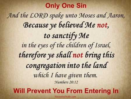 Numbers 20:12 Only One Sin will Prevent you from Entering in