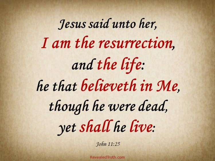John 11:25 - Jesus is the Resurrection and the Life. Anyone who believes in Him will live.