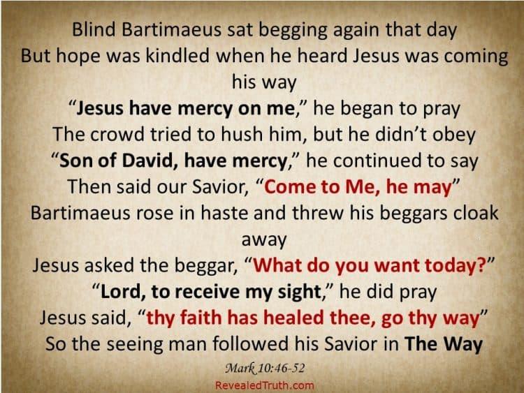 The Healing Faith of Blind Bartimaeus - Mark 10.46-52