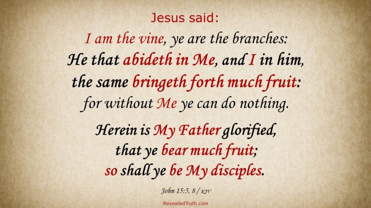 John 15:5, 8 KJV - Abide in Jesus and bring forth much fruit as His disciple