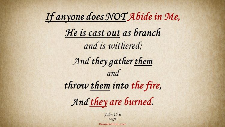 John 15:6 Those who abide not in Christ will be cast out and burned