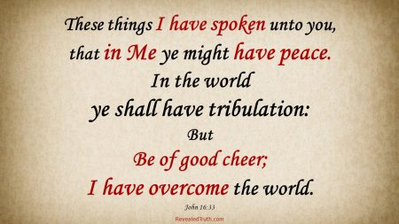 John 16:33 Have Peace in spite of Tribulation because I have Overcome